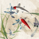 水墨锦鲤动态壁纸