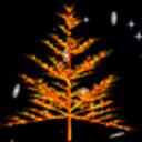 星夜雪花七彩树动态壁纸
