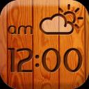 木数字的天气和时钟