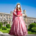 中世纪的女人打扮蒙太奇