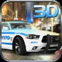911警察驾驶的汽车追逐3D