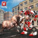 超级机器人与愤怒的公牛攻击模拟器