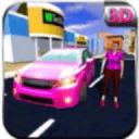 粉红色的汽车出租车女司机