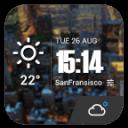 極致簡潔桌面天氣時鐘,經典設計,透明小工具,清新風格