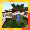 現代房屋在山。 MCPE地圖