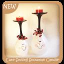 可爱的微笑雪人烛台
