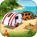 露营大篷车驾驶模拟器:沙滩游戏