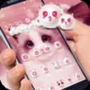 粉红少女可爱小猫主题和可爱小猫粉红壁纸和粉红猫图标包