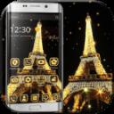 金色巴黎铁塔桌面主题 巴黎之夜