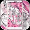 粉色爱心钻石主题 粉红玫瑰花壁纸+钻石爱心图标