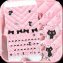玫瑰金猫咪表情键盘主题 蝴蝶结玫瑰金主题