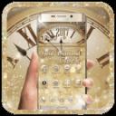 金色鑽石奢華時鐘主題 鑽石黃金壁紙