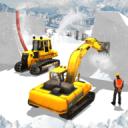 雪公园下坡推土机建设游戏
