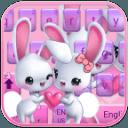 可爱爱心兔子键盘主题 emoji表情键盘 云预测语音输入