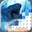 Jurassic Dinosaur Pixel Art: Color Pixel by Number