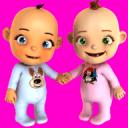 谈的婴孩双胞胎新出生的乐趣