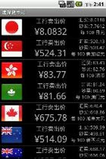 中国工商银行即时外汇牌价