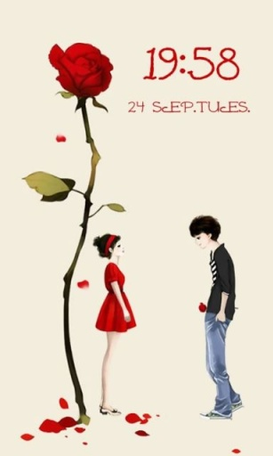 qq头像手绘 带玫瑰的情侣动漫