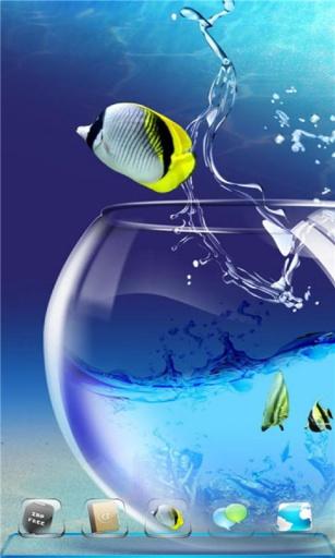 宝软3D主题-可爱水晶玻璃鱼缸