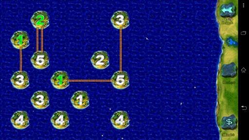 桥梁也被称作Hashiwokakero,是一个规则简单但有挑战性的逻辑解谜游戏。 桥梁游戏是在一个没有标准的尺寸矩形网格上玩的。 岛屿从一到八的数字开始,剩下的部分是水。 我们的目标是通过在海岛中间画桥梁然后使所有的岛屿变成一个群岛。 桥梁游戏必须遵守如下标准: 必须用直线的两端分别连接两个不同的岛屿。 不能和其他桥梁或岛屿交叉,只能独自直角运行。 最多两个桥梁连接一对海岛,连接岛屿的桥梁的数量应该和岛屿的数量相匹配。 点击一个岛屿然后拖向另一个岛屿,当两个岛屿都被点亮时松开笔或者手指。 想要毁掉桥梁可