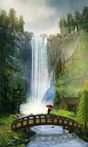 欧式竖版山水油画