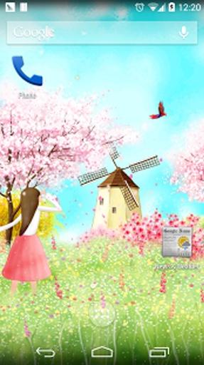 樱花树下可爱女孩动态壁纸