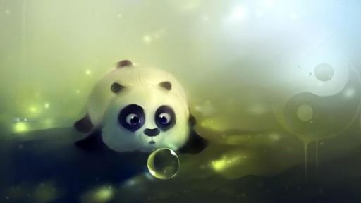绿色卡通熊猫壁纸