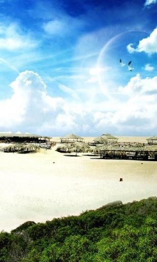 这是一个高品质3d海滩风景主题高清动态壁纸