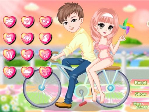自行车游戏的女孩