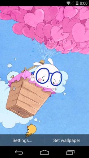 扑克兔之爱的气球-梦象动态壁纸截图0