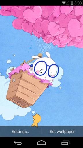 扑克兔之爱的气球-梦象动态壁纸截图1