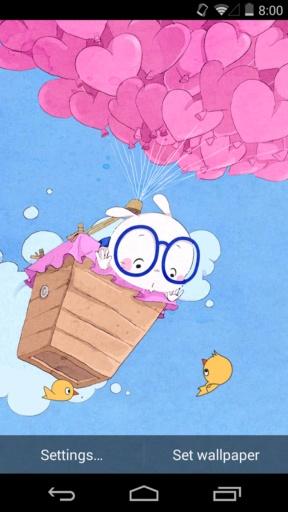 扑克兔之爱的气球-梦象动态壁纸截图3