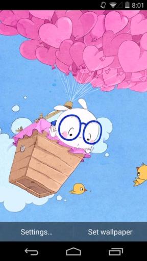 扑克兔之爱的气球-梦象动态壁纸截图4