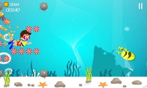 糖果游泳潜水挑战可爱的孩子