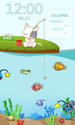 小猫钓鱼主题(锁屏桌面壁纸)