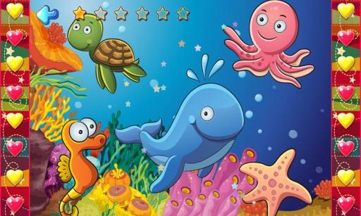 儿童海洋动物拼图游戏,宝宝识动物学英语,开发智力