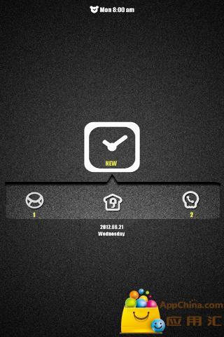 GO锁屏主题黑色时钟