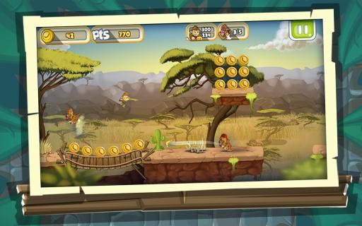 丛林猴子跑酷游戏 - 游戏酷跑截图2