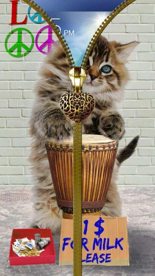 猫锁屏。拉链。截图0