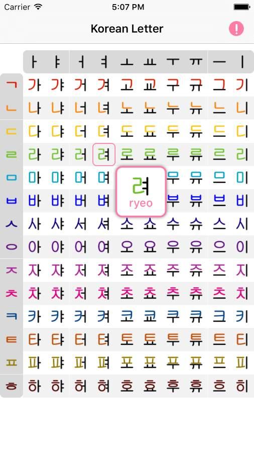 韩语字母表:Korean