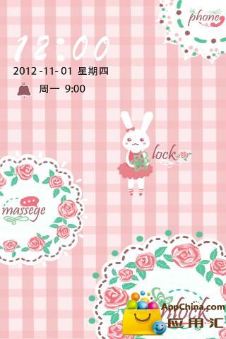 GO锁屏主题-兔兔rose截图3