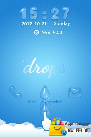 GO锁屏主题-蓝色水滴截图1