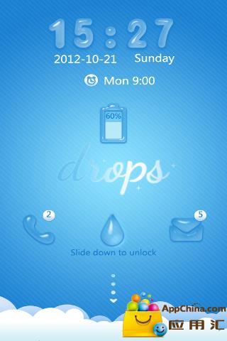 GO锁屏主题-蓝色水滴截图2