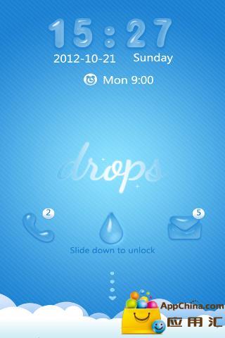 GO锁屏主题-蓝色水滴截图3
