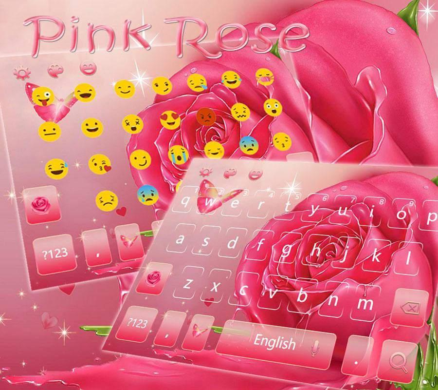 蝴蝶粉玫瑰键盘主题 浪漫油画粉玫瑰壁纸截图1