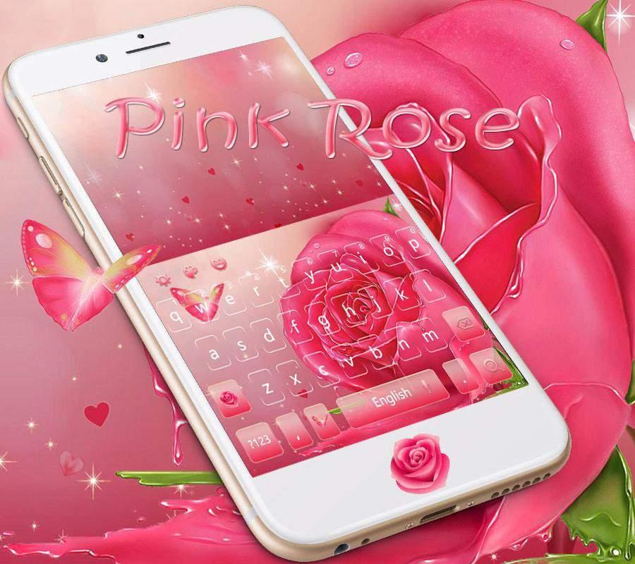蝴蝶粉玫瑰键盘主题 浪漫油画粉玫瑰壁纸截图2