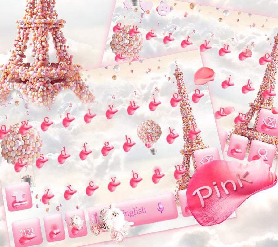 梦幻巴黎铁塔键盘主题 梦中粉色玫瑰花巴黎