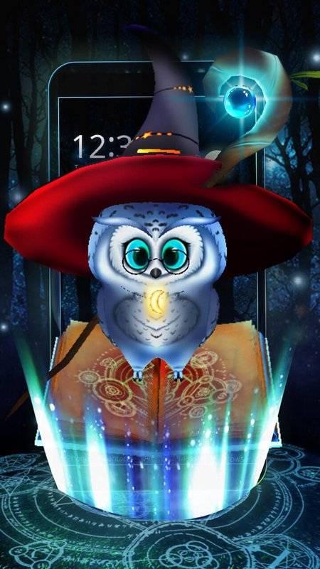可愛的魔術貓頭鷹3D主題