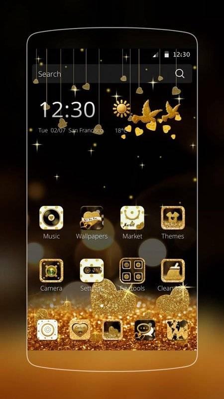 金色星星華爲P9/華爲榮耀主題 金色星星鑽石主題壁紙截图3