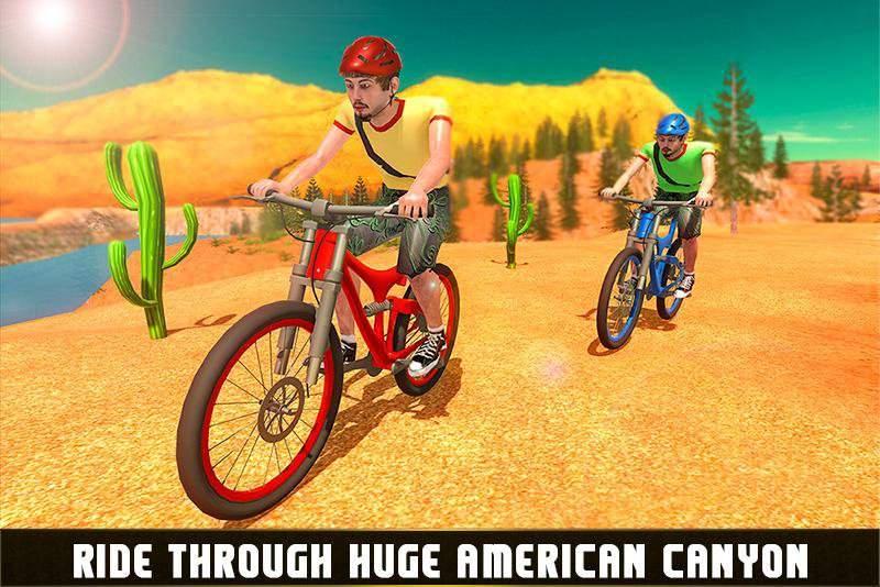 下坡越野自行车车手